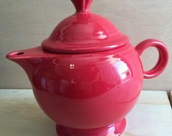 Fiesta Red Tea Pot Ceramic - fiestawear wear teapot - Mid century Modern mcm