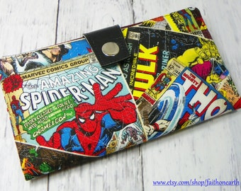 Handmade Long fandom geek Wallet  BiFold Clutch - Vegan Wallet - Spider Man - Hulk -Thor Comic Book Covers Super Hero