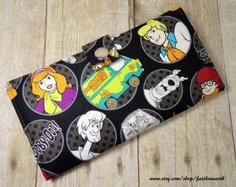 Handmade Long fandom geek Wallet  BiFold Clutch - Vegan Wallet - Scooby Doo and the Gang Mystery Machine or half size unisex wallet