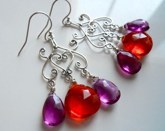Festival Chandelier earrings, magenta earrings, orange earrings, bali sterling silver, gemstone earrings
