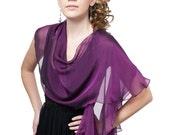 Promo Sale Royal purple fluttering scarf /wrap in iridescent silk chiffon
