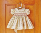 Hand smocked baby dress, dainty roses, 6 months,  baby gift, heirloom, infant dress, baby shower, party dress, classic dress, hand made