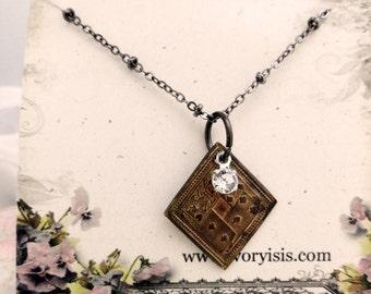 "Antique Poker Chip Necklace with Vintage Swarovski Crystal on 24"" Brass Necklace"