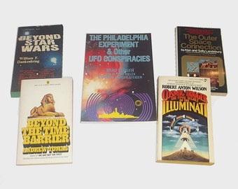 1970s and 1980s Metaphysical books / UFO Time Travel Illuminati Book Lot