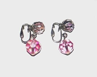 1960s aurora borealis earrings / 60s pink earrings / Perfectly Pink Drop Earrings