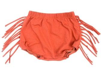 Orange Fringe thigh length bloomer shorts