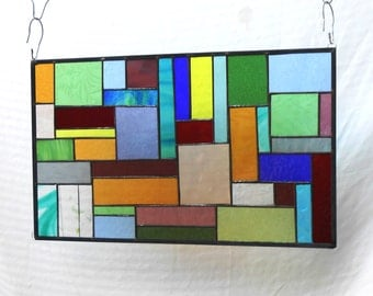 Stained Glass Window Panel, Multicolor Geometric Patchwork Quilt Window Valance, Stained Glass Transom Window, OOAK Antique Window Panel