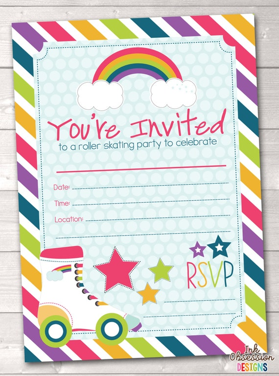 Fill In Roller Skating Party Invitations Printable Kids Birthday – Printable Kids Party Invites