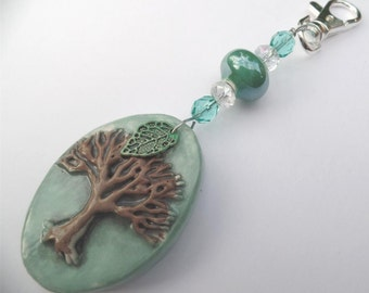 Limited Edition Earth Day Awareness Ornament with Ceramic Tree, Beads, Painted leaf, Environmental, Fragile Planet, Sun Catcher