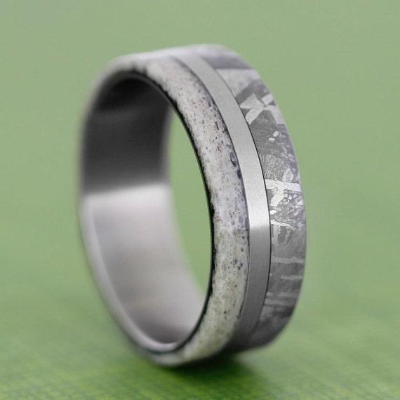 meteorite wedding band deer antler ring with a by