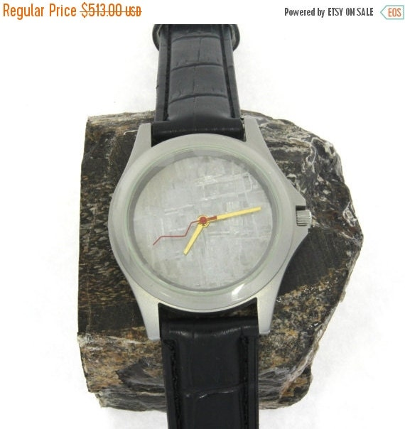 15% OFF Holiday Sale Personalized Men's Wristwatch with a Meteorite Watch Face