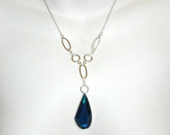 vintage faux diamond silver teal blue gem drop pendant necklace