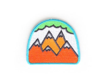 SALE - 50% OFF - Neon Mountains Iron On Patch - Embroidered Patch - Woven Patch - Mokuyobi Threads - Cute Patches - Patches for Jackets