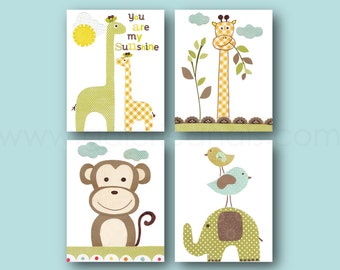 Nursery Decor Jungle nursery art kids room decor giraffe monkey elephant Blue green yellow You are My Sunshine Quote Set of 4 Prints