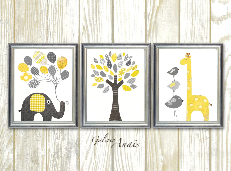 Giraffe nursery art print elephant nursery wall decor baby zoom amipublicfo Gallery