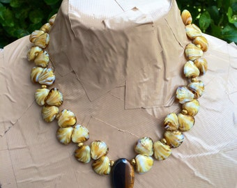 SING YOUR SONG glass shell & tiger eye necklace