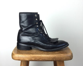 Vintage JUSTIN Boots • 1990s Womens Footwear • Black Leather Size 6D 7 5 8 Pioneer Ankle 90s Grunge Combat Victorian Lace Up Latch Fringe