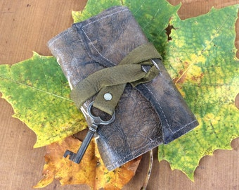 Little pocket leather journal with handmade paper and skeleton key