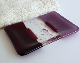 Fused Glass Soap Dish in Cranberry and Pink