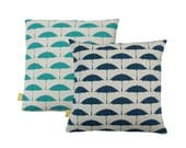 "Hand Printed Organic Cotton Pillow / Cushion Cover 18"" Bird Brolly"