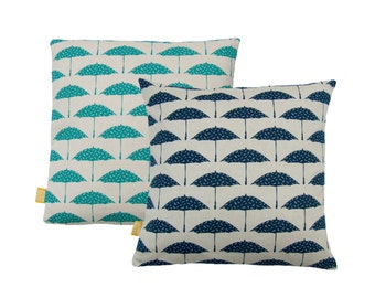 "Hand Printed Organic Cotton Pillow / Cushion Cover 18"" Bird Brolly"