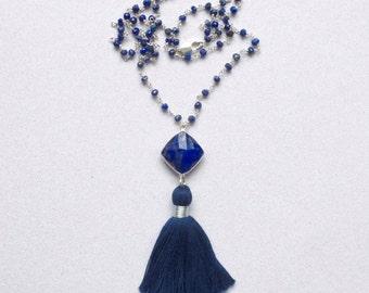 Lapis Necklace, Lapis Lazuli Gemstone Tassel Necklace, Lapis Tassel Necklace, Tassel Jewelry, Lapis Rosary Chain Tassel Necklace