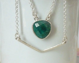 Emerald Necklace - Chevron Necklace - Layered Illusion Natural Emerald Gemstone and Chevron Necklace