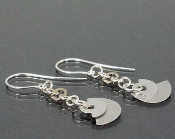 Cyberpunk Earrings- Upcycled Clock Part & Hardware Silver Steampunk Jewelry, Industrial Earrings, Hardware Jewelry, Industrial Jewelry