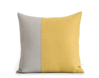Minimal Linen Pillow Cover in Yellow and Natural Linen (18x18) by JillianReneDecor, Modern Home Decor, Two Tone Colorblock Pillow, Squash