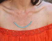 Turquoise Gold Disc Necklace