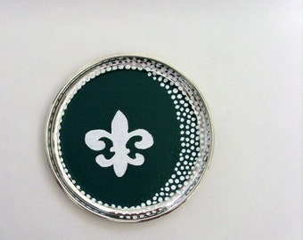 Round Fleur De Lis Chalkboard Tray / Green - White Writable Surface / Decorative Silver Plated Tray / Upcycled Tray / OOAK / CLEARANCE
