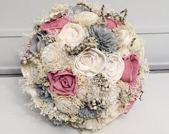 Rose pink and gray Wedding Bouquet -sola flowers - choose your colors - Custom - Alternative bridal bouquet - bridesmaids bouquet -rustic