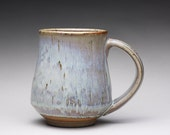 handmade pottery mug, ceramic teacup, coffee cup with orange shino and wood ash glazes
