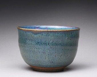handmade matcha chawan, tea bowl, pottery bowl with blue green and white ash glazes