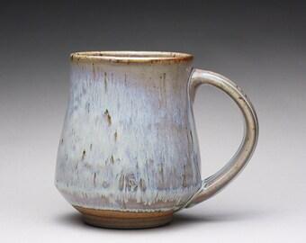 handmade pottery mug, ceramic teacup, coffee cup with orange shino and wood ash glazes