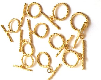 2 sets- Matte Gold plated plated Brass Circle Toggle Clasps - 25x18mm (009-056GP)