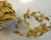 3yds GOLD leaf trim on a vine great for scrapbooking quilts clothing holiday bridal