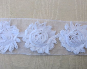 1 yd WHITE Shabby Ribbon Rose Flower Trim Scrapbook Fairy Pageant Costume Doll Bridal Quilt