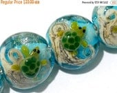ON SALE 50% OFF Four Turtle Cove Lentil Beads 11606012 - Handmade Grace Lampwork Bead Set