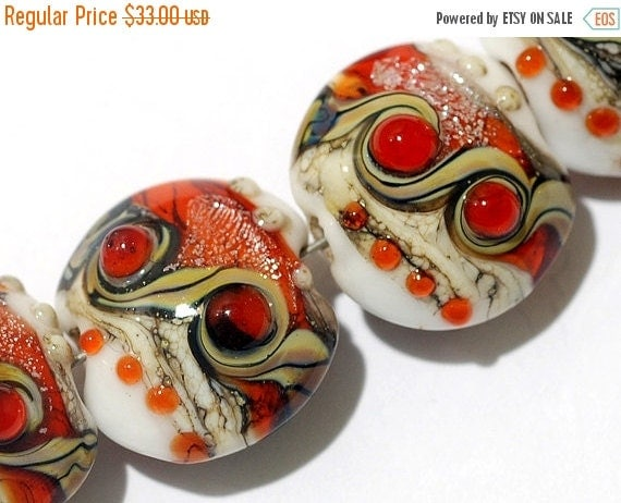 ON SALE 50% OFF Glass Lampwork Bead Set - Four Fire Red Stardust Lentil Beads 10705612