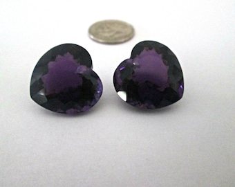 SALE - Purple Amethyst Gemstones - Matching Earring Pair - Checkerboard Facets - Heart Shape - Concave Cut