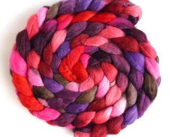 Polwarth/Silk Roving - Handpainted Spinning or Felting Fiber, Red Tempest