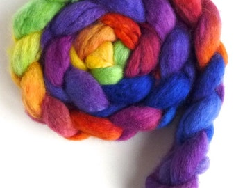 BFL Wool Roving - Hand Painted Spinning or Felting Fiber, Rainbow Palace