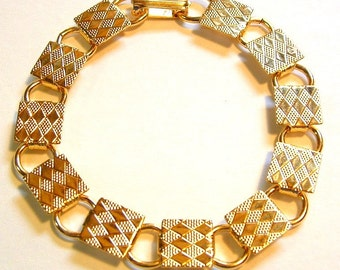 1970's Vintage Set of 3 Bracelets - Diamond Pattern Gold Blanks 10mm Squares Connector Links - 7.5 Inches Long