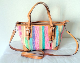 Genuine  Fossil SMALL colorful patchwork top zip  tote , bag , dual strap satchel ,purse ,cross body bag vintage
