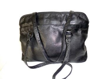 Ratio Italian lamb  leather purse, tote , dual strap  satchel, top zip handbag, carryall tote, overnight bagvintage early 90s