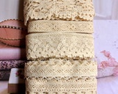 Country Rustic Fine Cream Light Beige Floral Flower Scallop Crochet Cotton Lace Ribbon Trim Set 5 Designs 10 Meters