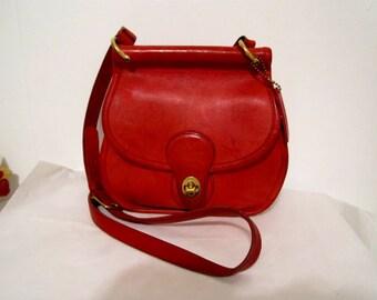 Red COACH purse Mini Willis leather purse crossbody made in USA