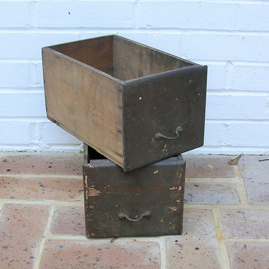 Wood Drawer Boxes ~ Vintage wooden box drawer boxes