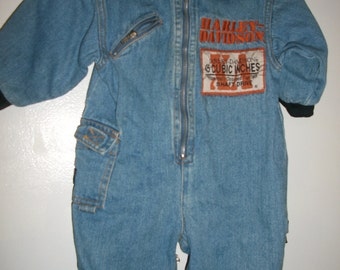 vintage 80s 90s infant HARLEY DAVIDSON motorcycle mechanic coveralls 12 M